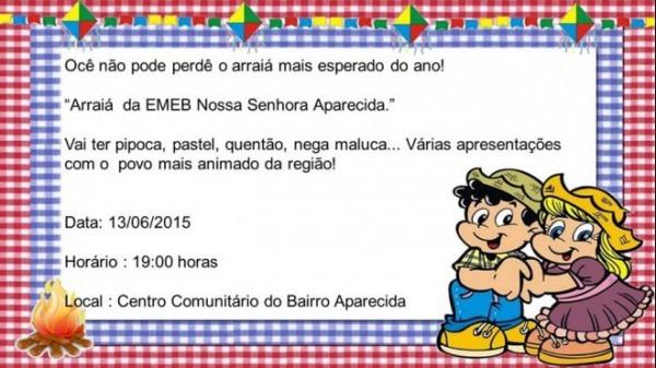 Escola Aparecida Realiza Festa Junina No Próximo Sábado (13