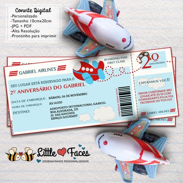 Convite Festa Tema Avião Digital No Elo7