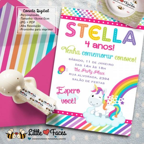 Convite Festa Unicórnio Digital No Elo7
