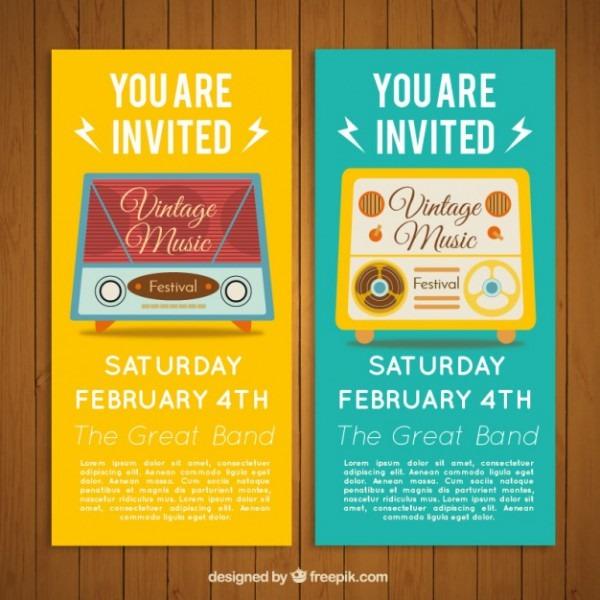 Convite Festival De Música Clássica Com Design De Rádio