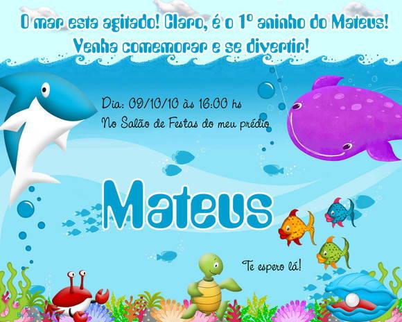 Convite Fundo Do Mar No Elo7