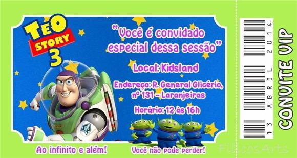 Convite Ingresso Toy Story No Elo7