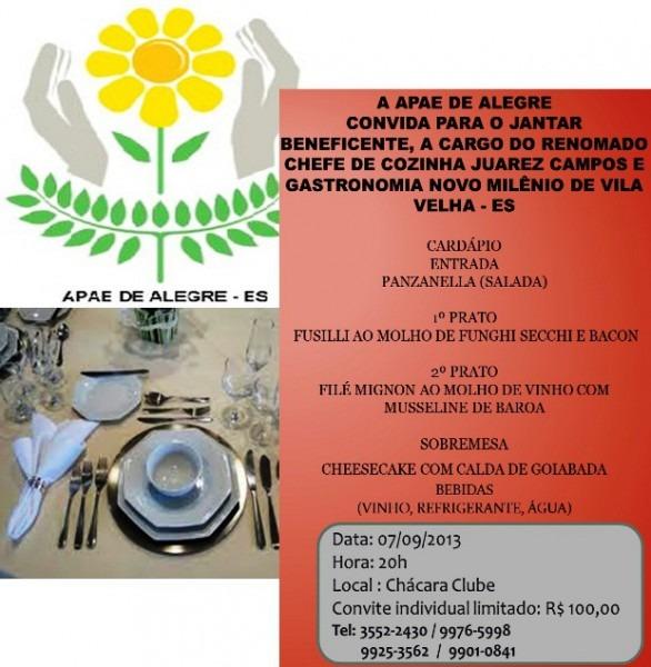 Convite  Jantar Beneficente Da Apae