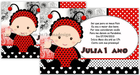 Convite Joaninha No Elo7
