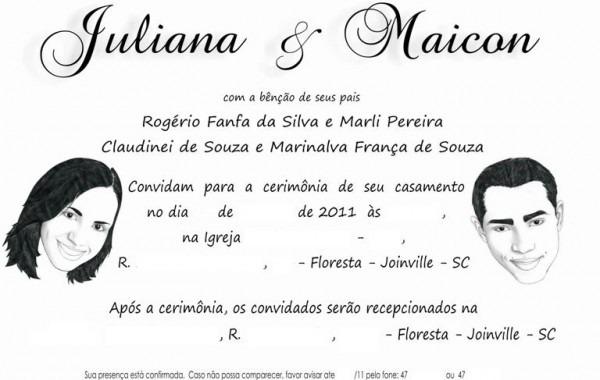 O Convite De Casamento Da Juliana E Do Maicon