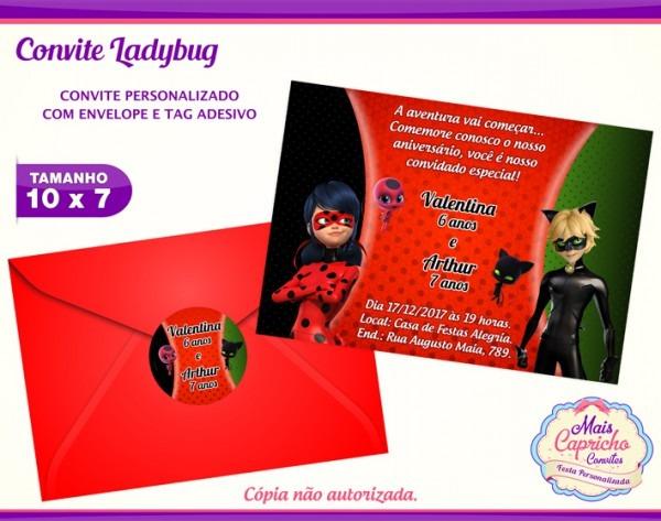 Convite Ladybug E Cat Noir No Elo7