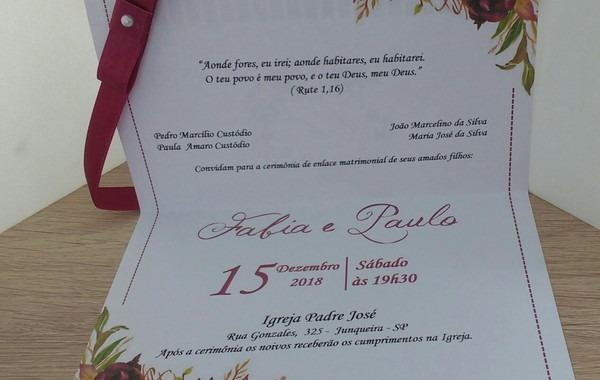 Convite Marsala Vinho C1m0 No Elo7