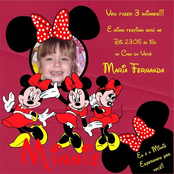 Convite Da Minnie Mouse Quadrado
