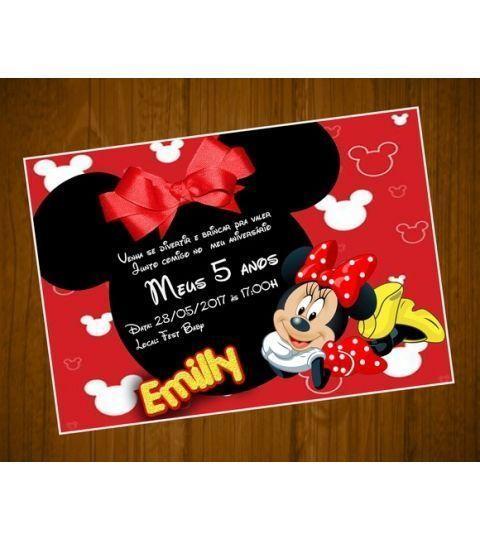 Convite Minnie Vermelha Tamanho 7x10