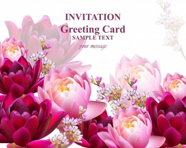 Convite Ou Cartão Com Fundo De Flores De Lírio De água