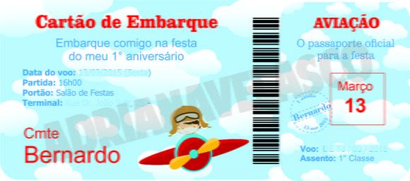 Convite Passaporte Aviao