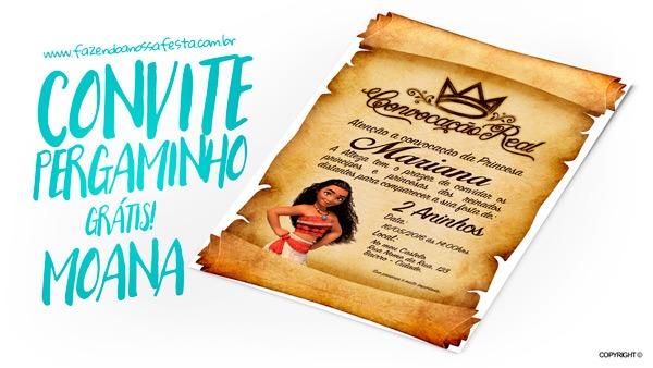 Convite Pergaminho Princesa Moana Grátis Para Imprimir
