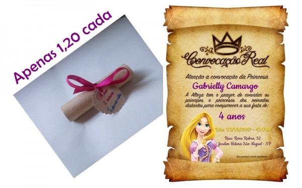 Convite De Aniversario Pergaminho Rapunzel No Elo7