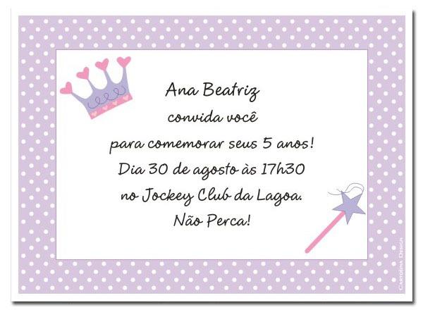 Personalizar Convite Princesa