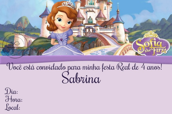 Convite Princesa Sofia 2 No Elo7