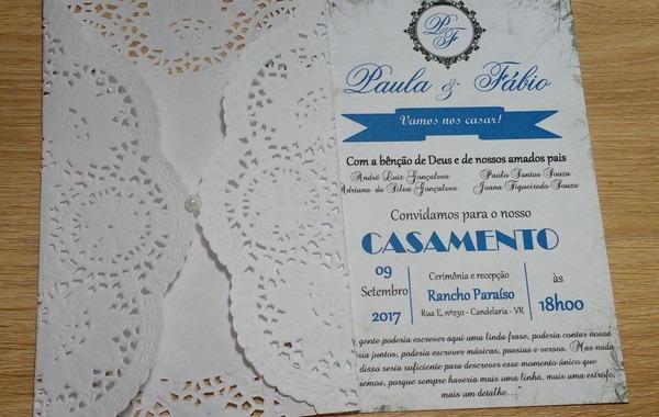 Convite Rendado Azul Royal A0r14 No Elo7