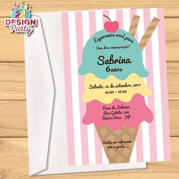 Convite Sorvete Com Envelope
