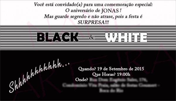 Convite Festa De Aniversário Preto E Branco