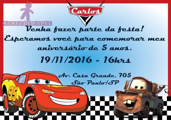 Convite Tema Carros No Elo7