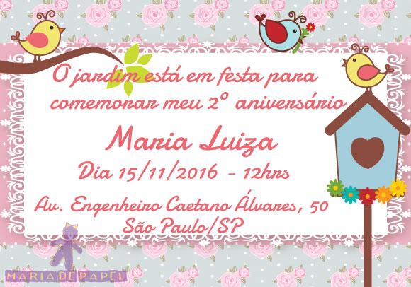 Convite Jardim Encantado No Elo7