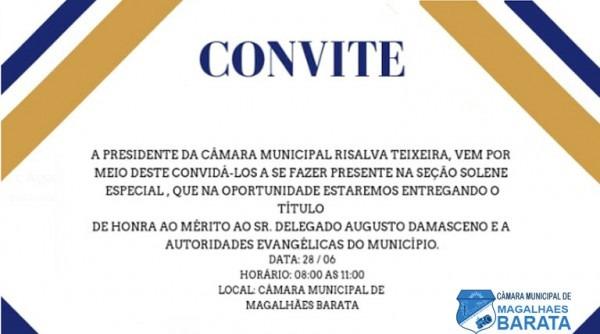 Convite De Entrega De Titulo De Honra Ao Mérito – Câmara Municipal
