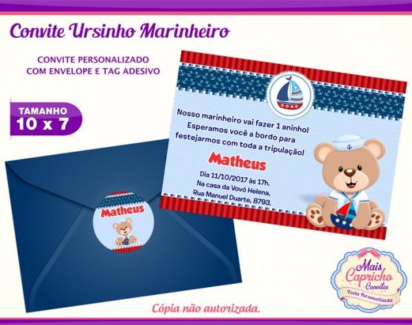 Convite Ursinho Marinheiro No Elo7