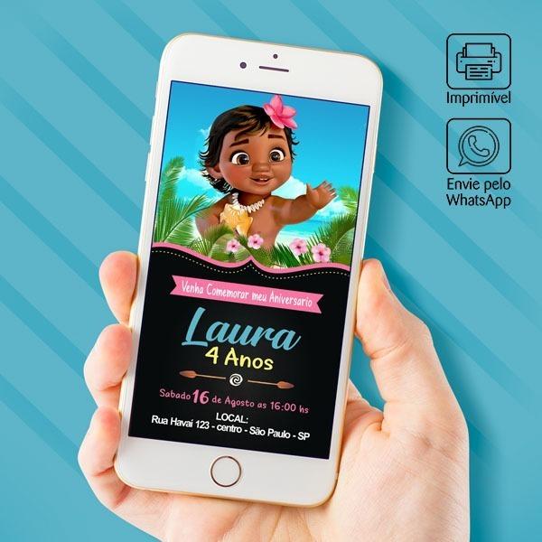 Convite Virtual Festa Infantil Moana Pequena
