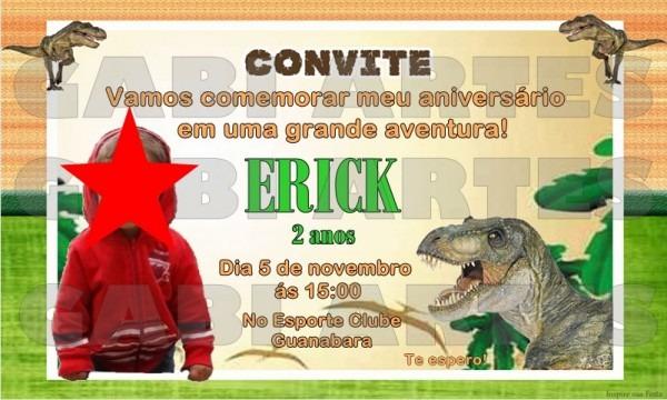 Convite Virtual Para Aniversario Dinossauro Com Foto  No Elo7