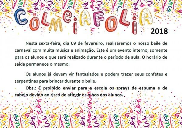 Convite Baile De Carnaval Colmeiafolia 2018
