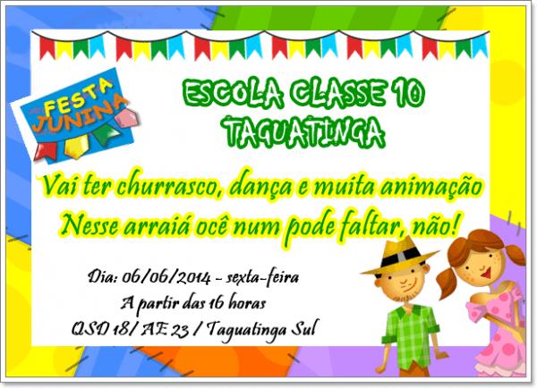 Imagine Um Lugarec10  Convite Festa Junina 2014