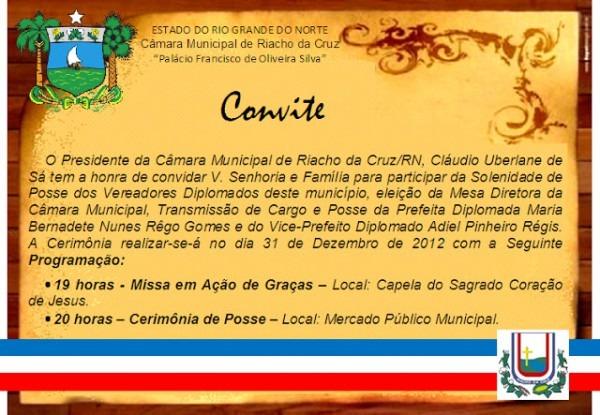Riacho Da Cruz  Convite Para A Cerimônia De Posse De De Bernadete