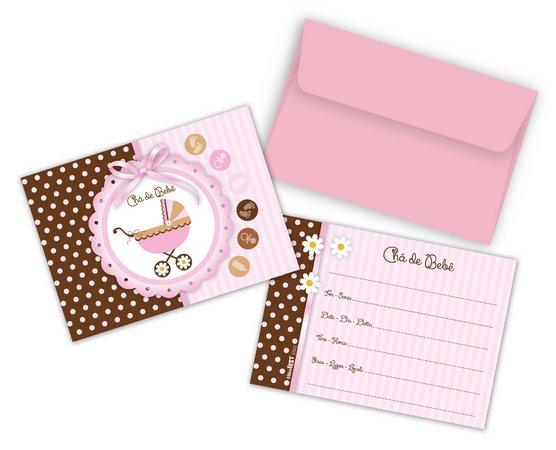 Convites Chá De Bebê Menina Pacote Com 8 Unidades