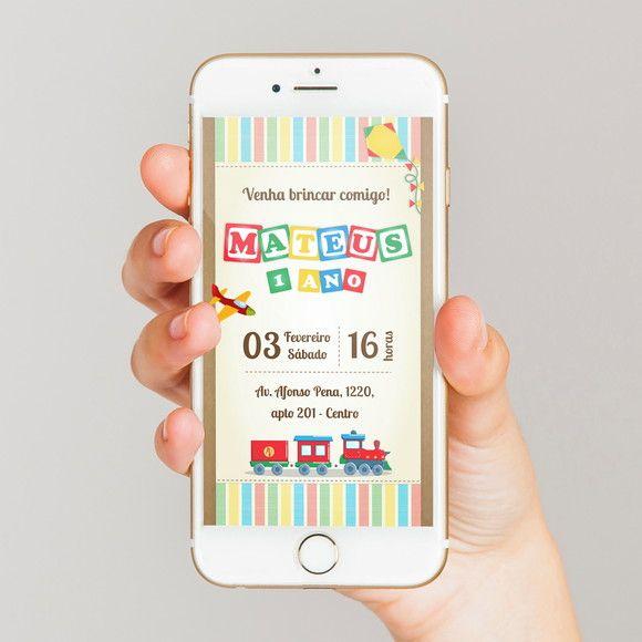 Compre Convite Virtual Brinquedos No Elo7 Por R$ 17,90