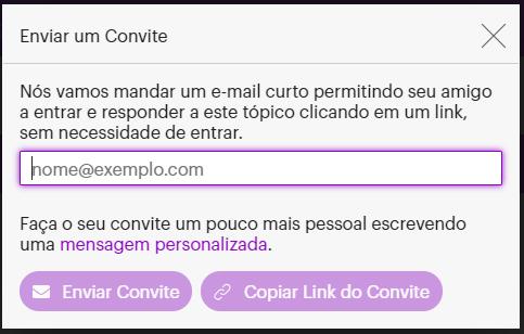 Botão Enviar Convite