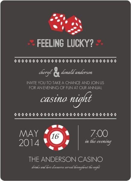 Faux Gold Feeling Lucky Poker Night Invitation