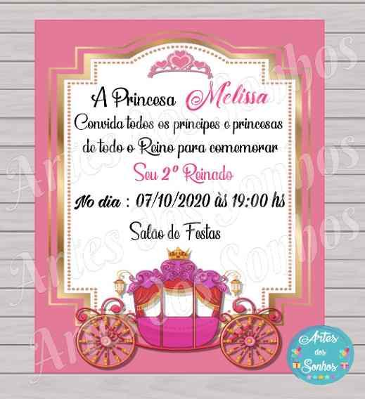 Convites Personalizados Infantil Rosa E Dourado