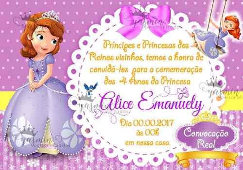 Arte Convite Digital Princesa Sofia Imprimir Em Casa