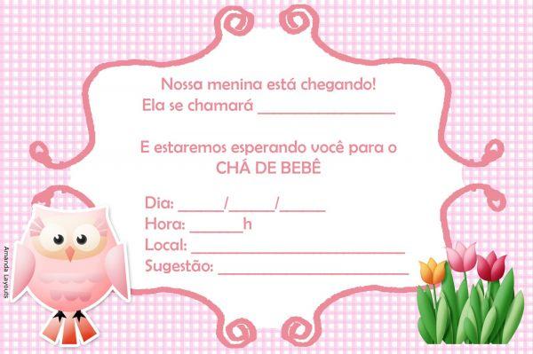 Convite Chá De Bebê Rosa
