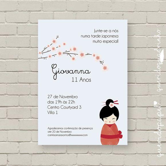 Convite Japonesinha Kokeshi