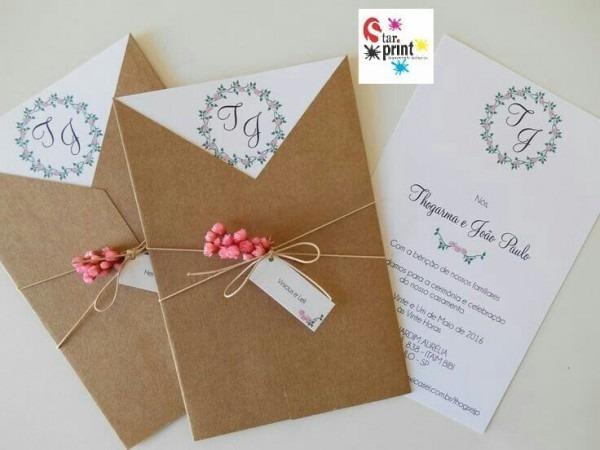 Envelope &convite De Casamento Rústico V04( 50unidade)