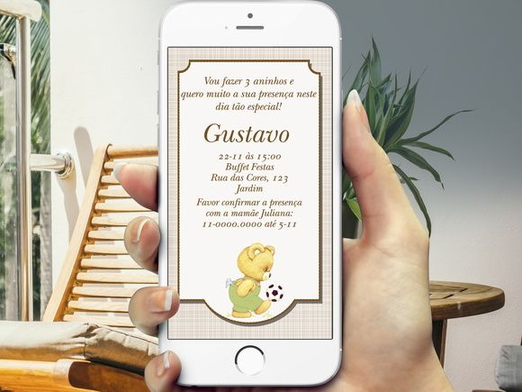 Convite Digital Ursinho