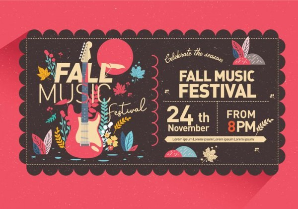 Vetor De Convite Festival De Música De Outono