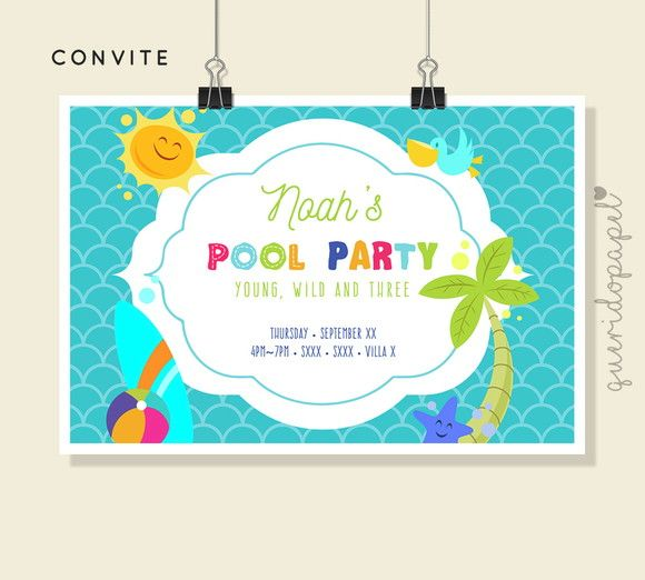 Convite Pool Party, Splash Party, Convite Digital, Convite Barato
