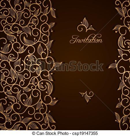 Floral, Ornamento, Renda, Ouro, Convite  Marrom, Renda, Ouro