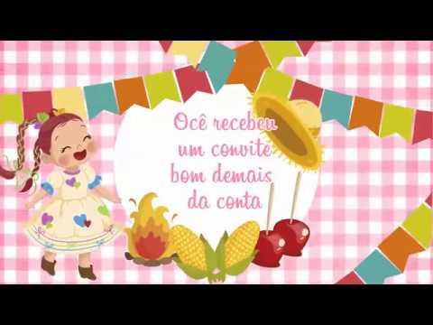 Convite Animado Festa Junina Menina
