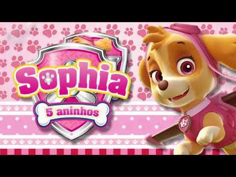 Convite Animado Skye Patrulha Canina Rosa