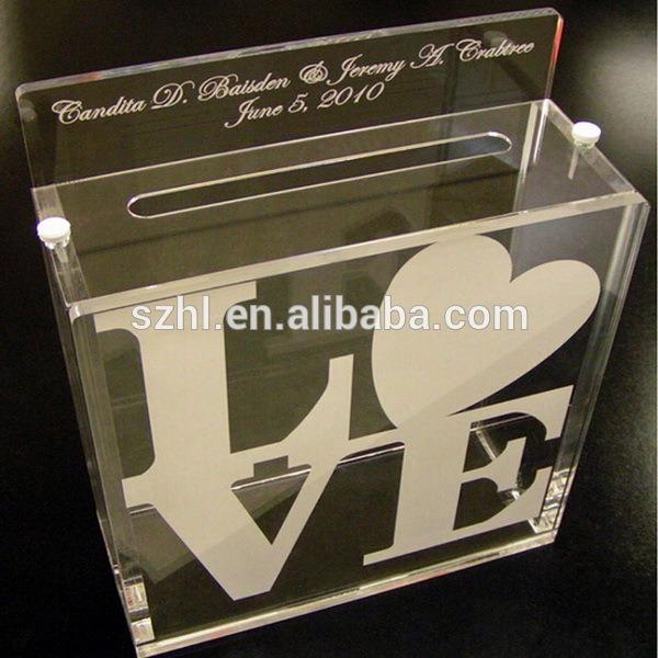 Caixa De Cartão De Convite De Casamento Acrílico Personalizado De
