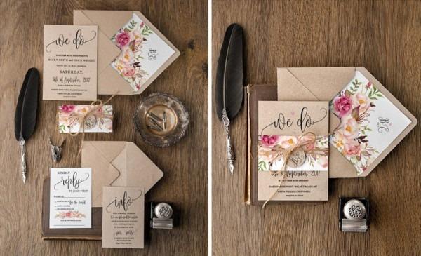 Papel Kraft Para Convite De Casamento  Rústico E Romântico