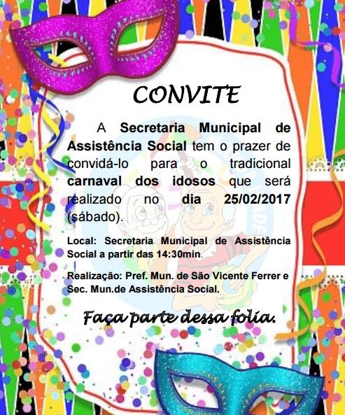 Secretaria De Assistência Social Convida Para O Tradicional