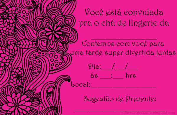 Convites Para Chá De Lingerie  Modelos Prontos Para Imprimir